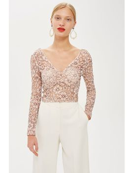 Lace Crop Plunge Top by Topshop