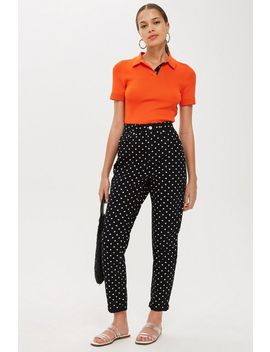 Moto Polka Dot Mom Jeans by Topshop