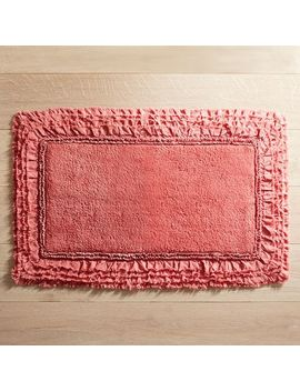 Frayed Edge Coral 21x34 Bath Rug by Pier1 Imports