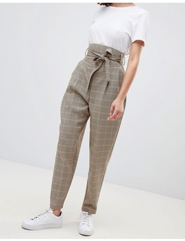 Asos Design   Pantalon Bouffant Fuselé à Carreaux Avec Taille Corsetée by Asos Design