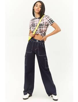 Contrast Stitched Wide Leg Pants by Forever 21