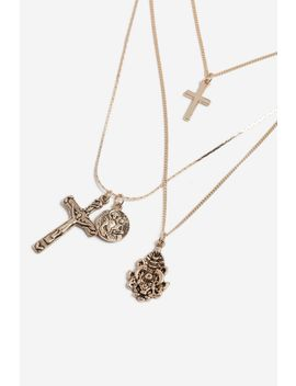 **Cross Charm Multi Row Necklace by Topshop