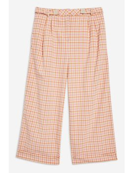 Petite Check Wide Trousers by Topshop