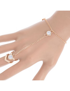 Gold Glitter Rhinestone Hand Harness Bracelet Slave Chain Link Finger Ring New by Ebay Seller