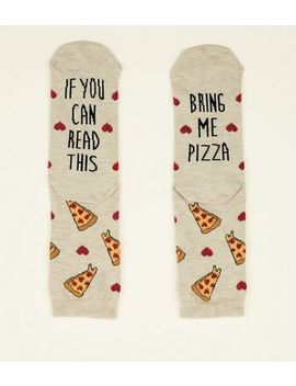 Cream Bring Me Pizza Slogan Socks by New Look