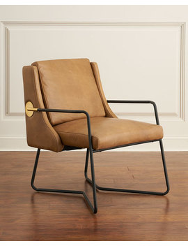 Arthur Leather Chair With Metal Frame by Neiman Marcus