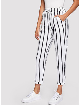 Drawstring Waist Striped Tapered Pants by Shein