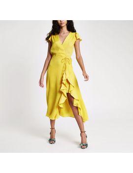 Yellow Frill Tie Waist Midi Dress by River Island