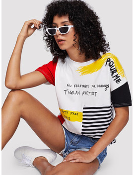 Letter Print Striped Brush Tee by Shein