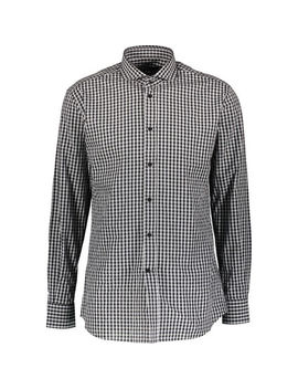 Black Gingham Long Sleeve Shirt by Karl Lagerfeld
