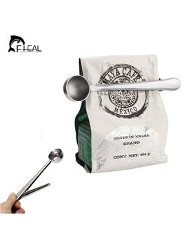 Fheal Useful Coffee Tea Tool Stainless Steel Cup Ground Coffee Measuring Scoop Spoon With Bag Sealing Clip by Fheal