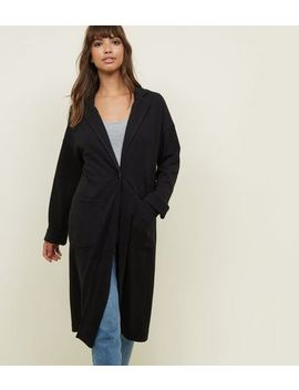 Black Cross Hatch Duster Jacket by New Look