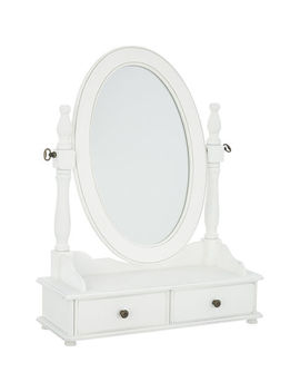 White Oval Mirror Dressing Table 66x49cm by