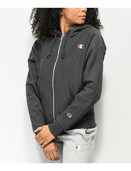 Champion Reverse Weave Heather Granite Zip Up Hoodie by Champion