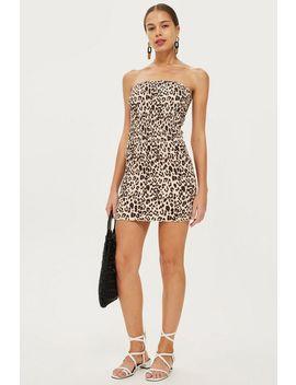 Petite Leopard Bandeau Bodycon Dress by Topshop