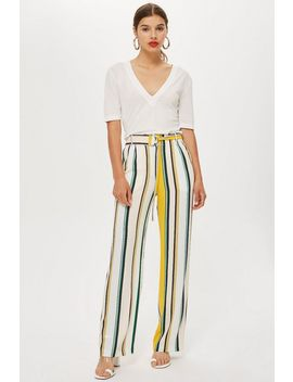 Petite Striped Wide Leg Trousers by Topshop