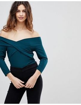 Asos Design Body With Wrap Front In Teal by Asos Design