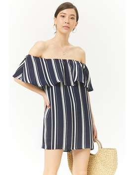 Striped Off The Shoulder Flounce Dress by Forever 21