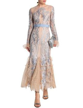 Look At Me Organza Paneled Embroidered Tulle Maxi Dress by Alice Mc Call