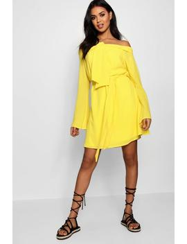 Off The Shoulder Knot Front Shift Dress by Boohoo