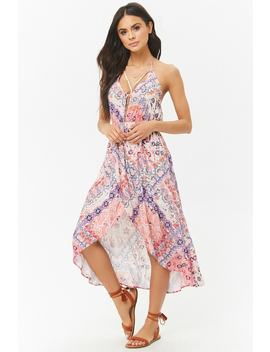 Ornate Floral High Low Halter Dress by Forever 21