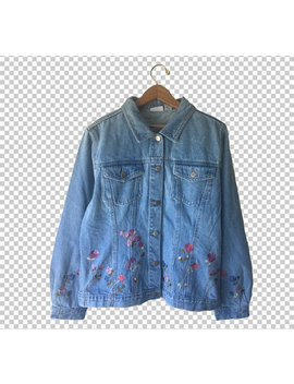 1990s Floral Embroidered Jean Jacket // Women's 90s Flower Embroidery Classic Jean Jacket // Women's 16 Xl by Etsy