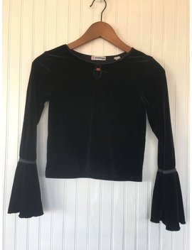 90s Vintage Black Velour Crop Top Bell Sleeves Velvet Size Medium Or Small M S Holiday Goth Party Cropped Dance Sexy Boho by Etsy