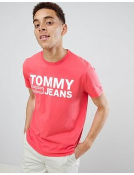 Tommy Jeans Essential Logo T Shirt In Red by Tommy Jeans