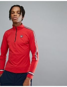Tommy Hilfiger X Rossignol Ryan Tech Quarter Zip Long Sleeve Top In Red by Tommy Hilfiger