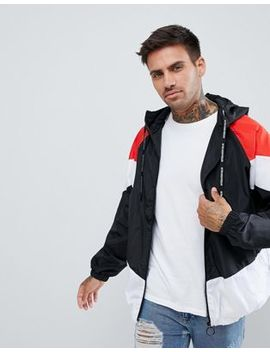 Pull&Bear Windbreaker With Hood In Black Colourblock by Pull&Bear
