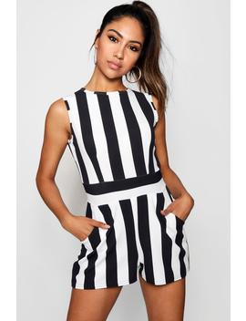 High Neck Stripe Playsuit by Boohoo