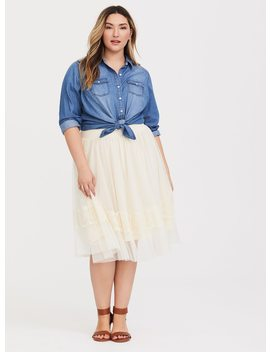Ivory Mesh Lace Midi Skirt by Torrid