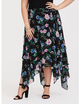 Black Floral Handkerchief Chiffon Skirt by Torrid