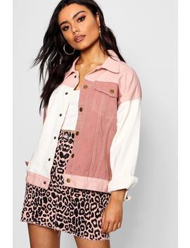 Pink Cololur Block Denim Jacket by Boohoo