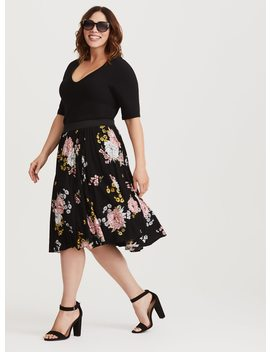 Black Floral Challis Full Skirt by Torrid