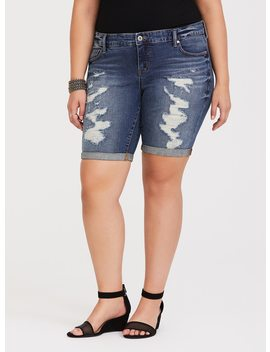 Boyfriend Bermuda Short   Distressed Medium Wash by Torrid