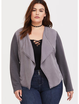 Grey Draped Twill & Knit Jacket by Torrid