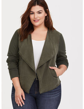 Olive Knit To Woven Drape Jacket by Torrid
