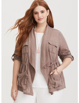 Brown Drape Gauze Anorak by Torrid