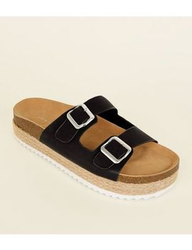 Black Buckle Strap Flatform Sandals by New Look