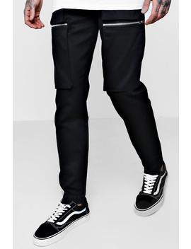 Zip Cargo Trouser In Slim Fit by Boohoo