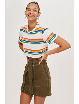 Khaki Denim Utility Skirt by Topshop