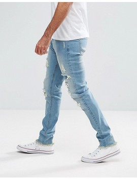 Hoxton Denim Slim Fit Jeans With Heavy Rips by Jeans