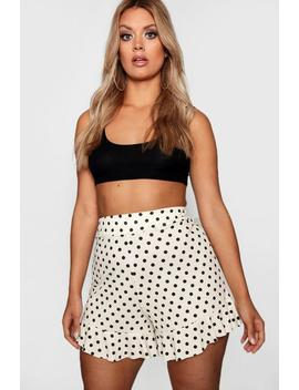 Plus Polka Dot Ruffle Hem Shorts by Boohoo