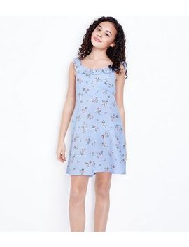 Teens Blue Floral Frill Trim Dress by New Look