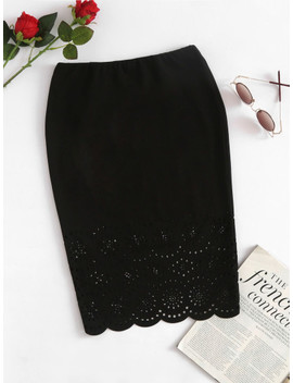 Scalloped Laser Cut Form Fitting Skirt by Shein