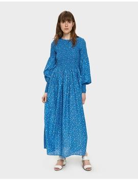 Beacon Smocked Dress In Marina by Ganni