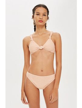 **Textured Bikini Bottoms By Evil Twin by Topshop