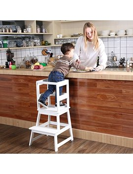 Sdadi Kids Kitchen Step Stool With Safety Rail Cpsc Certified  For Toddlers 18 Months And Older, White by Sdadi