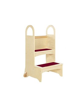 Guidecraft High Rise Step Up   Natural: Step Stool For Toddlers, Sink And Counter Height Wooden Quality Kids Furniture With Handles by Guidecraft